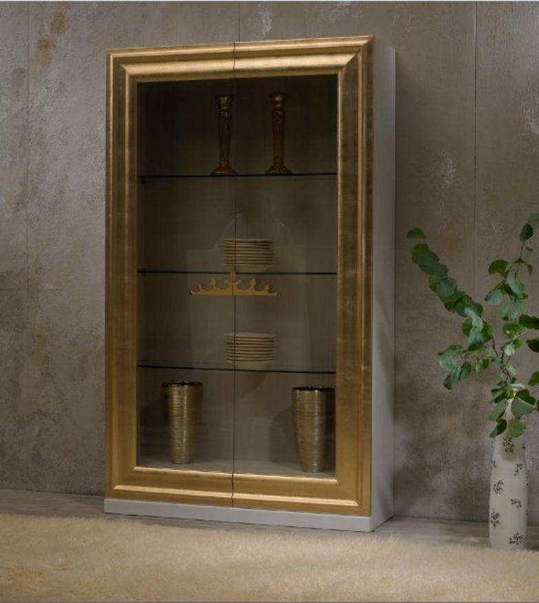 vetrina in legno laccata bianca e foglia oro o argento , vetrine ...