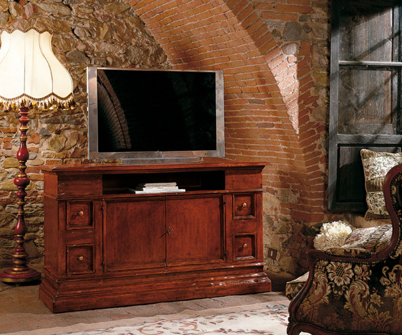 2215r mobile porta tv rustico in legno massello per - Porta tv classici ...
